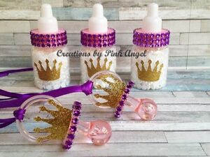 Image Is Loading 12 Princess Baby Shower Bottle Favors Or Crown