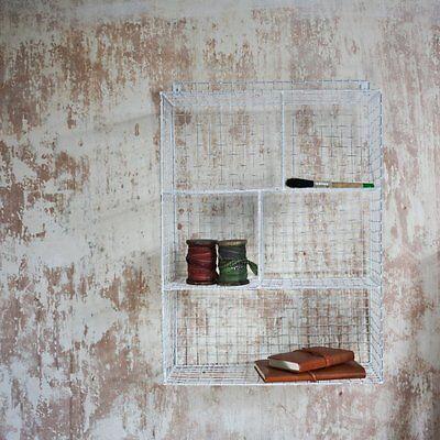 Retro Locker Room White Basket Shelf Wire Unit Kitchen Storage Bathroom Cupboard