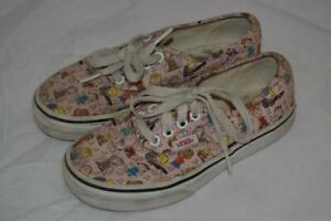 PINK ALL OVER SNOOPY PEANUT PRINT VANS LACE UP CLASSIC SHOES TRAINERS GIRLS 12.5