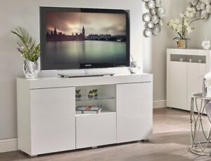 White High Gloss Tv Cabinet Media Unit Stand Sideboard Lowboard
