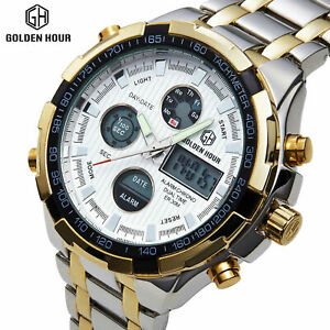 Details about GOLDEN HOUR Mens Sports LED Watches Stainless Steel Analog  Quartz Wristwatch 108