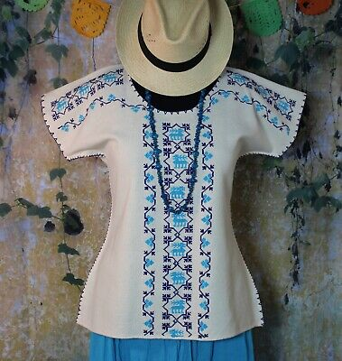 Huanengo Hand Embroidered Mexican Blouse