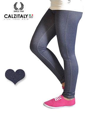 Dettagli su Leggings Bambina Jeans, Jeggings Effetto Denim, Treggings Bimba, Made in Italy
