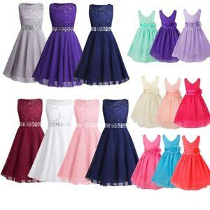 FLOWER-Girl-Princess-Dress-Party-Matrimonio-Damigella-D-039-onore-CONCORSO-Formale-Abito-Da-Ballo