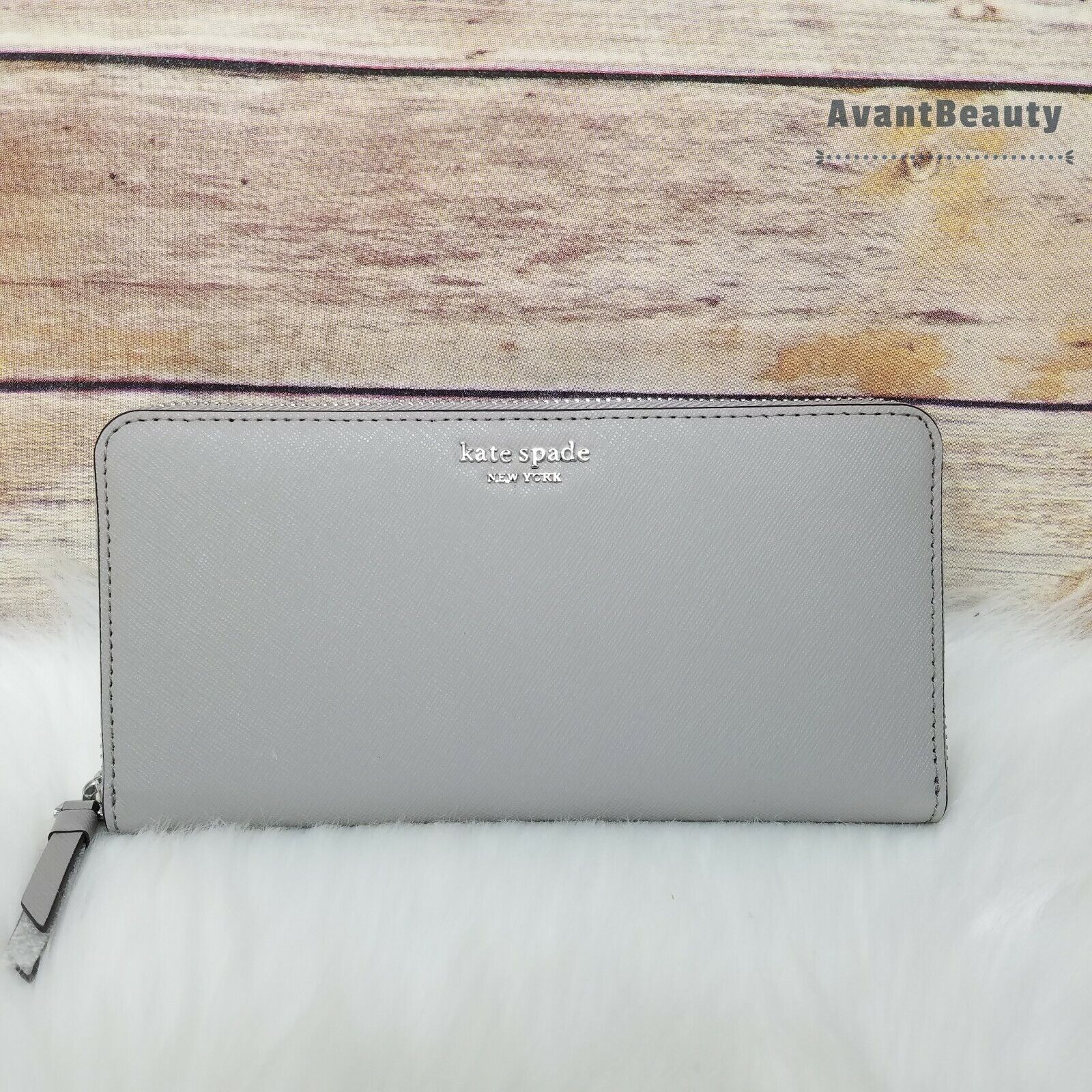 NWT Kate Spade Cameron Large Continental Leather Wallet in Soft Taupe Leather