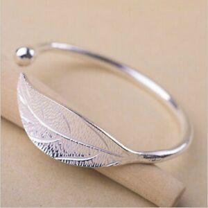 Fashion-Elegant-Women-Leaves-925-Sterling-Silver-Opening-Bracelet-Bangle-Gift-UK