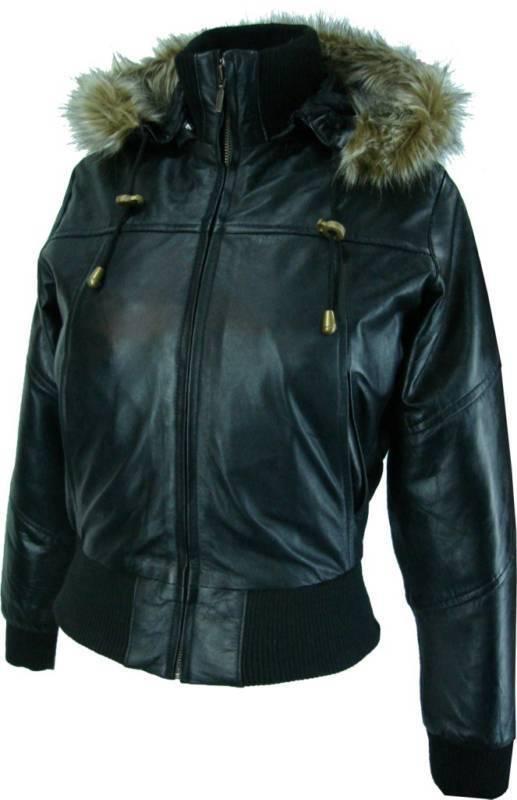 UNICORN donne cappotto corto in vera pelle con cappuccio - nero o marrone  M1/M2