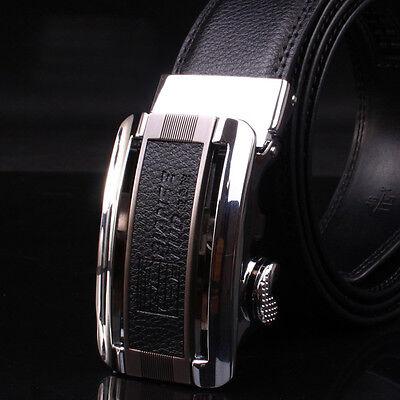 New Man's Black Design Automatic Buckle Genuine Leather Waist Strap Belts GR51