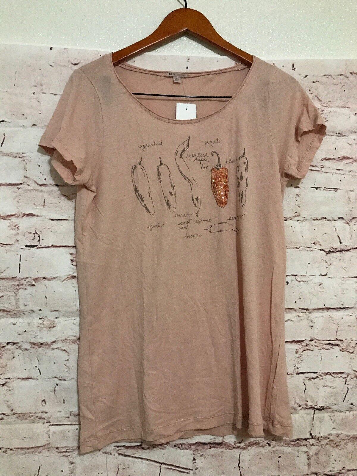J Crew Womens Short Sleeve Pepper Shirt Embellished Pink Size Large Nwt C54