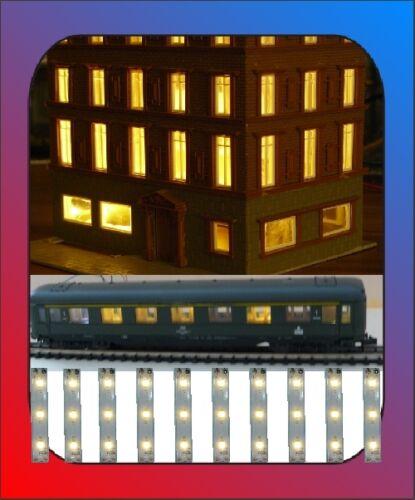20 x LED hausbeleuchtung bâtiment éclairage wagon éclairage 50x8 mm Blanc chaud