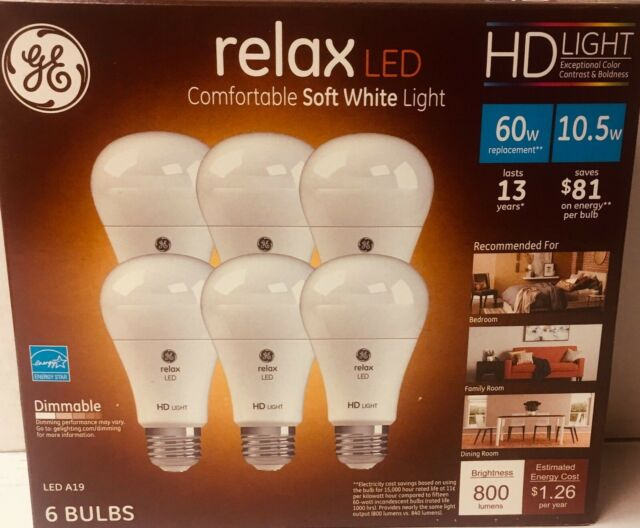 GE Relax High Definition LED Light Bulb 10.5W  2700K  Soft White 12-Pack Dimmabl