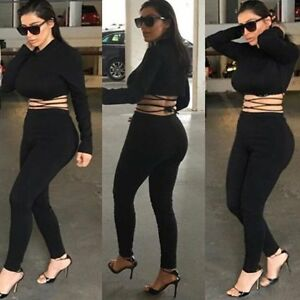 ca4bb378354 Womens 2 Piece Bodycon Bandage Long Sleeve Crop Top and Pants Sets ...