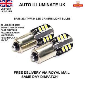 BA9S-233-T4W-24-LED-SMD-XENON-BLANCO-LADO-BOMBILLAS-LAMPARAS-canbus-no-error-12-V
