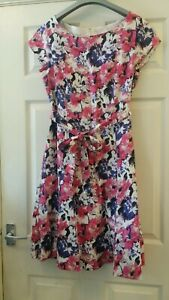 VGC-Size-14-LAURA-ASHLEY-Pink-Purple-Anemone-Floral-Linen-Fit-amp-Flare-Dress