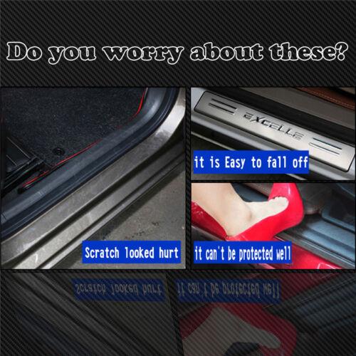 4Pcs 3D Carbon Fiber Silver Car Door Plate Sill Scuff Plate Anti-Scratch Sticker