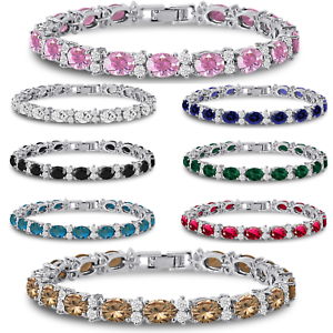 Tennis-Bracelet-with-Cubic-Zirconia-CZ-7x5mm-Oval-Silver-Plated-FREE-Shipping