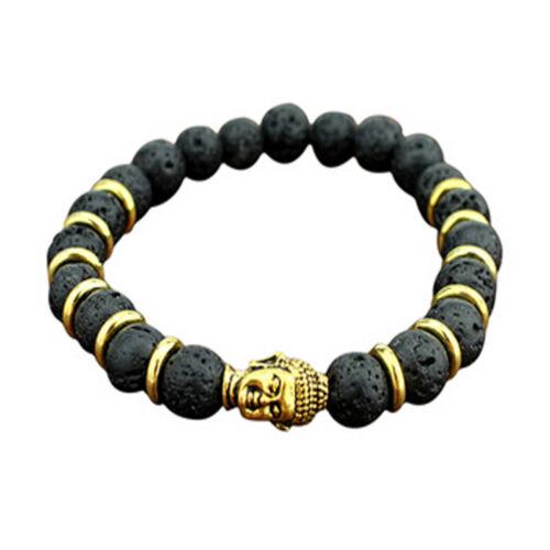 Skull Head Lava Stone Bracelet rock élastique bracelet jonc Bouddha perles