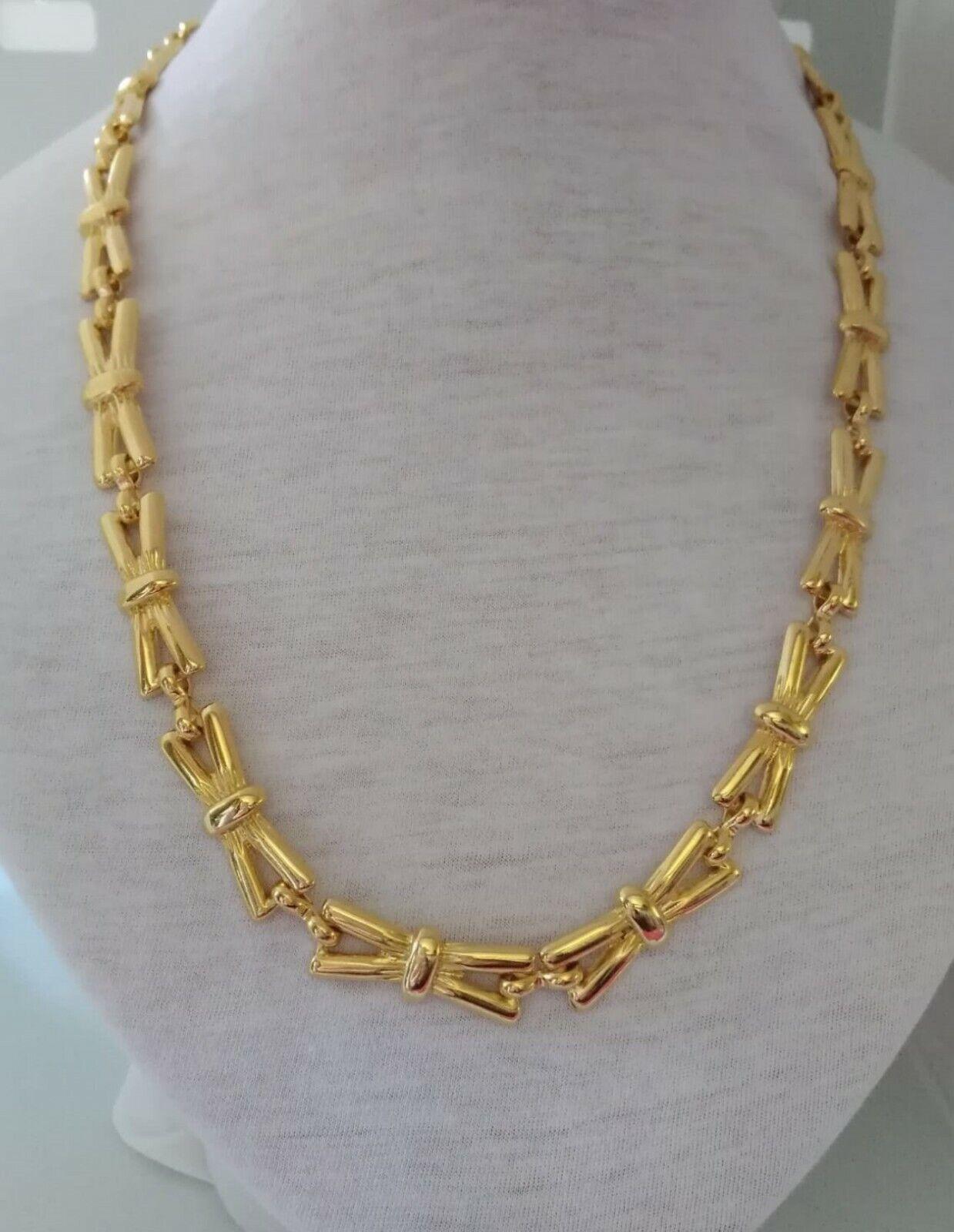 Vintage Long Necklace Vintage Years 70/80 Metal Gold Color Necklace Woman-show original title