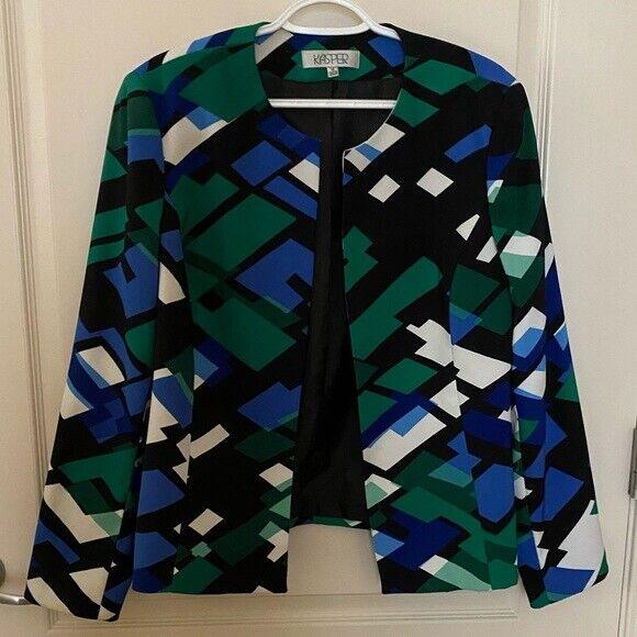 Kasper Size 14 Open Front Jacket Blazer Blue Teal Black Whilte Print