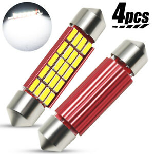 4x 41mm 42mm Festoon 4014 20SMD C5W Car LED Dome Door Light Bulbs Canbus White
