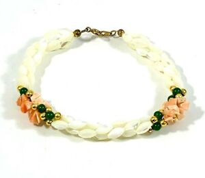 Vintage Bracelet Multi-Strand Mother of Pearl Rice Bead Coral Jade Beads