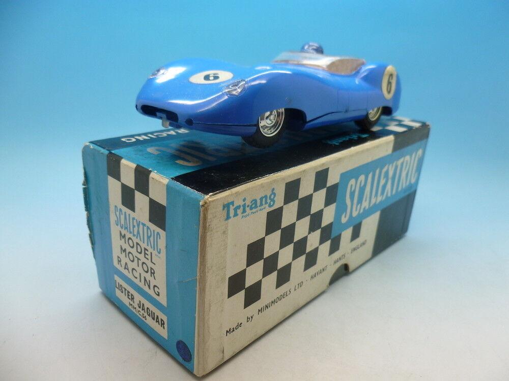 Scalextric E1 Lister Jaguar en Bleu, superbe exemple et coffret