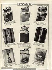 1937 PAPER AD Evans Cigarette Case Lighter Art Deco Fox Hunt Hunting Dogs Scene