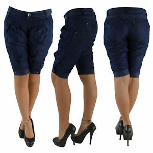 Damen-Capri-3-4-Jeans-Shorts-Bemuda-Kurze-Hueft-Stretch-Hose-Aladin-Pump-7093