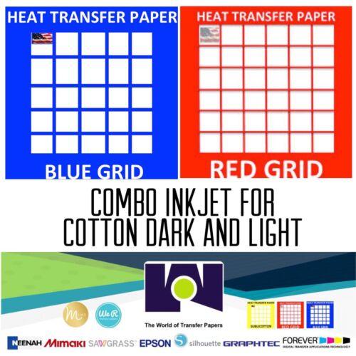 "InkJet T-Shirt HEAT TRANSFER PAPER Combo 10 Sh Each  Dark /& Red Grid 8.5x11/"""