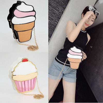 Women Girl Cute Ice Cream Shoulder Crossbody Bag Messenge Handbag Mini Purse AU