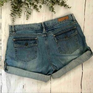 Daisy Fuentes Roll Tab Flap Pocket Women's Denim Shorts Size 10