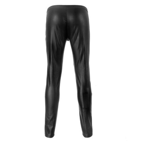 Mens Long Pants PU Elastic Tight Zipper Wet Look Trousers Leggings Clubwear New