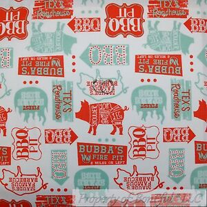 BonEful-FABRIC-FQ-Cotton-Quilt-VTG-White-Brown-Farm-PIG-Meat-BBQ-Country-Kitchen