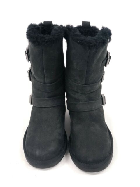 81ef32da0d3 UGG Australia Women's Becket II Black Leather Sheepskin Boot 1013856 Moto  Buckle