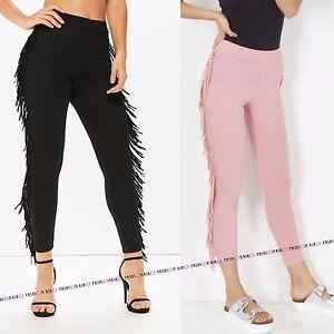 Hosen Damenmode Womens Ladies Soft Fit Tassel Ruffle Frill Tapered Skinny Bottom Trousers Pants