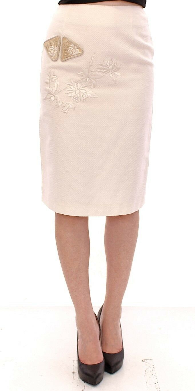 NWT  Andrea Incontri White Cotton Floral Embroidery Skirt IT40 US6  EU36  S
