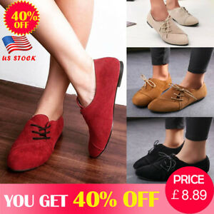 US-Womens-Lace-Up-Low-Heel-Oxford-Shoes-Casual-Pointed-Toe-Flat-Pumps-Shoes-Size