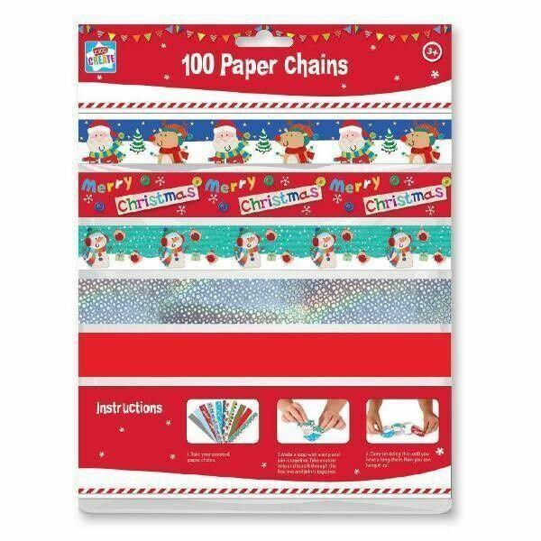 Foil Decor Decoration Kids 100 x Christmas Xmas Paper Chains 10 Designs Paper