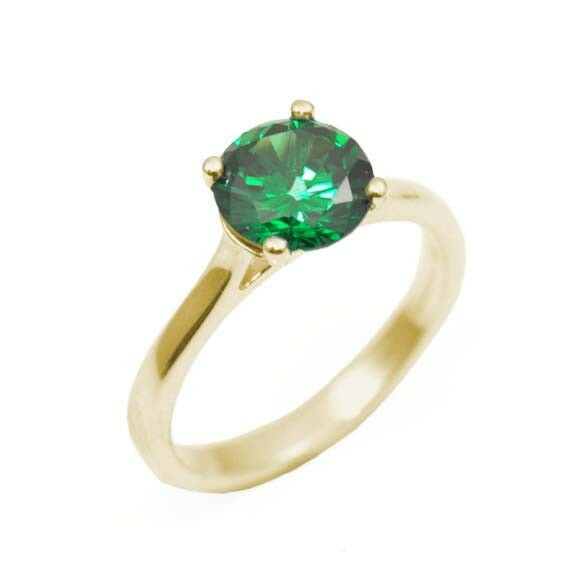 Ring Diamond Unique Emerald Solitaire 9ct gold 2ct Engagement Ring