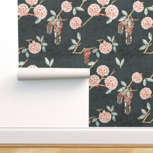 Removable Water-Activated Wallpaper Spring Botanicals Floral Flowers Botanical