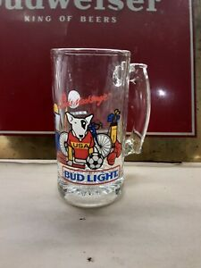 VINTAGE 1987 BUD LIGHT SPUDS MACKENZIE BEER MUG GLASS - RARE SMALL MUG !