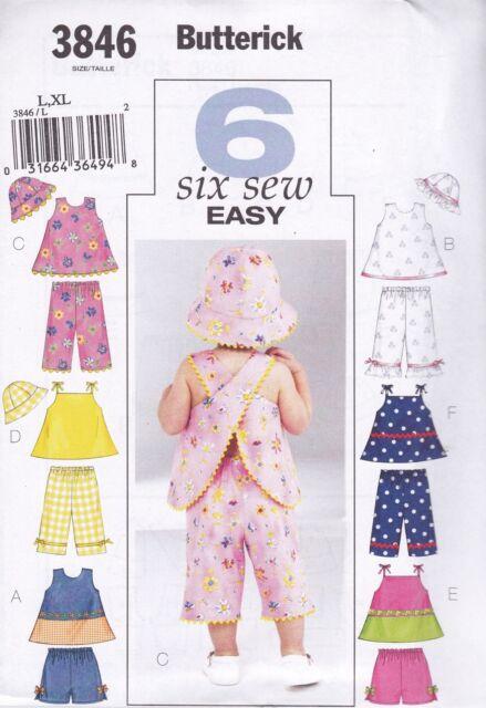 Butterick 3846 Sewing Pattern Uncut Baby Infant Top Shorts Pants Hat ...
