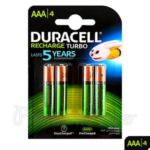 Duracell 4 Piles Nickel-hydrure Métallique rechargeables AAA (hr03)1 2v 800mah