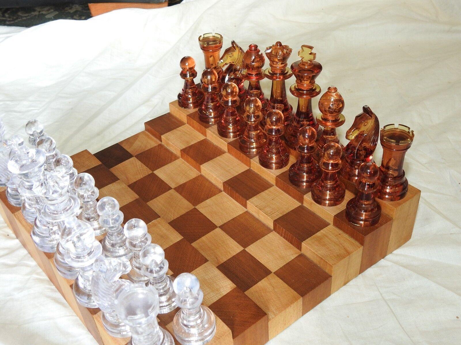 Hardwood Stepped Chess Set