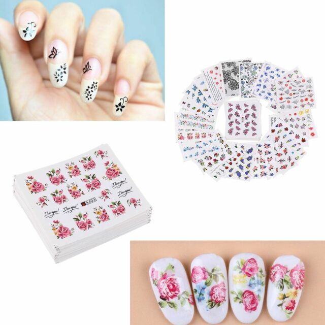50 Sheets/set Nail Art Stickers Water Transfer DIY Manicure Flowers ...