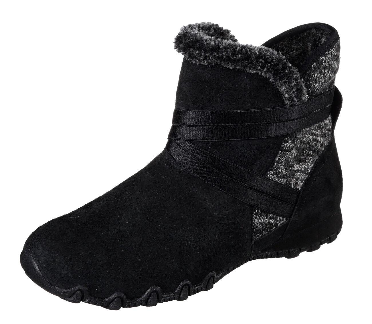 Skechers NEW Bikers Flare schwarz suede memory foam flat ankle boots Größes 3-8