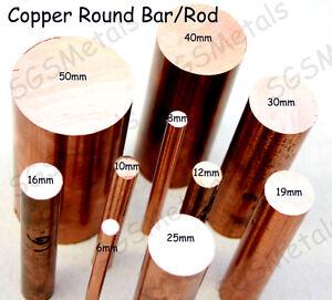 Copper ROUND Bar Rod C101 - 6, 8, 10, 12, 16, 19, 25, 30, 40 & 50mm Diameter