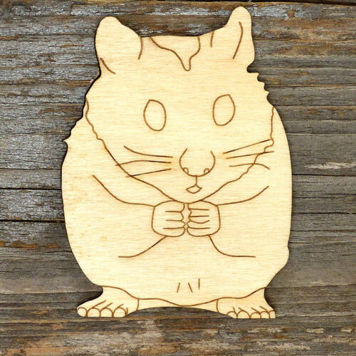 10x Wooden Golden Hamster Eating Craft Shapes 3mm Plywood Animal Pet Rodent