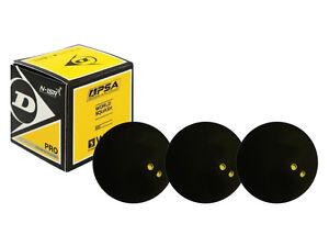3 x Dunlop Pro Squash Balls Double Dot Yellow - WSF & WSA & PSA Official Ball