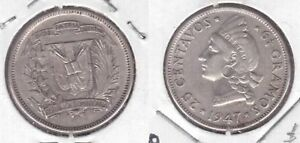 DOMINICAN-REPUBLIC-SILVER-25-CENTAVOS-COIN-1947-YEAR-KM-20